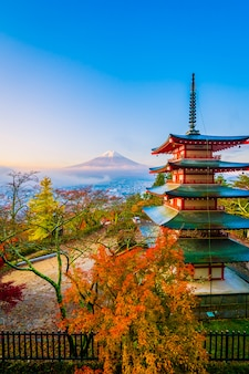Beautiful landscape of mountain fuji with chureito pagoda around maple leaf tree in autumn season