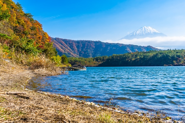 Beautiful landscape of mountain fuji with maple leaf tree around lake