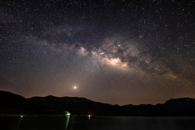 Beautiful landscape mountains and lake in the night with milky way, chiang mai , thailand