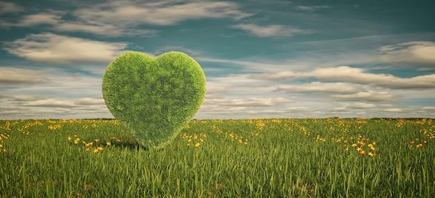 하늘 아래 잔디의 마음으로 필드의 아름다운 풍경, 3d 렌더링