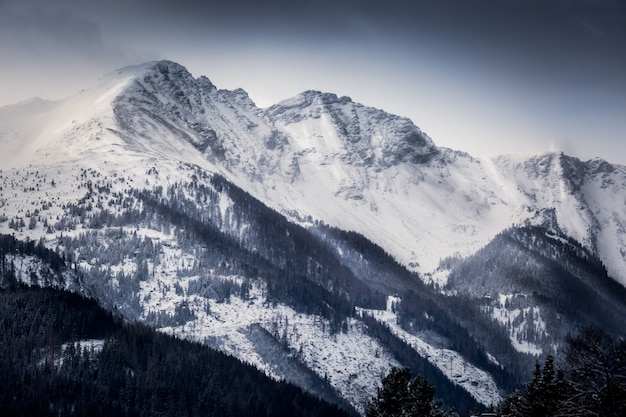 朝は雪に覆われた高アルプスの美しい風景