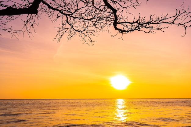 日没または日の出のシルエットのココヤシの木と海の海の美しい風景