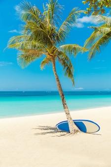 Красивый пейзаж тропического пляжа на острове боракай, филиппины. кокосовые пальмы, море, доска для серфинга и белый песок. вид на природу. концепция летних каникул.