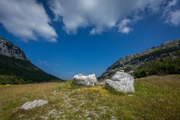 화창한 날에 두 개의 높은 산 사이 계곡의 아름다운 풍경
