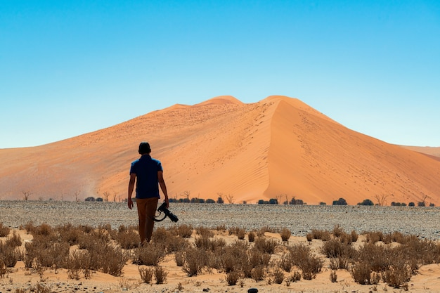 Beautiful landscape of orange sand dune orange sand at namib desert in namib-naukluft national park sossusvlei in namibia.