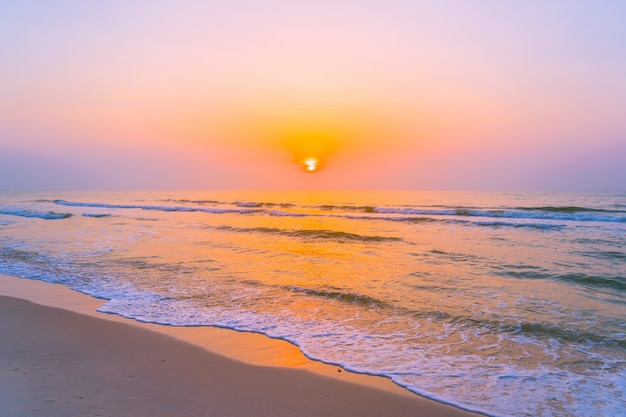 Beautiful landscape outdoor sea ocean and beach at sunrise or sunset time