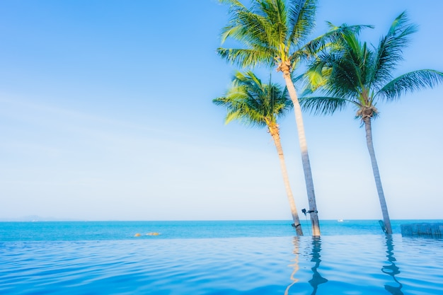 Beautiful landscape of outdoor swimming pool in hotel resort