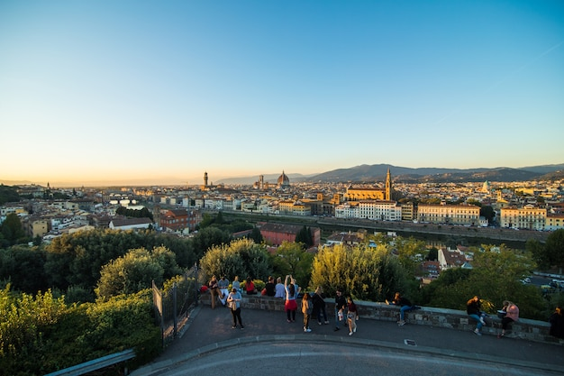 Beautiful landscape above, panorama on historical view of the florence from piazzale michelangelo point. morning time.