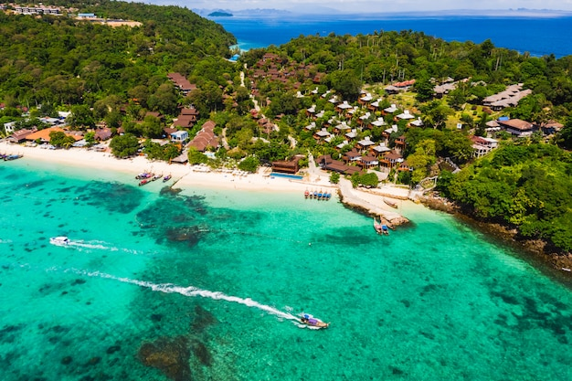 Beautiful landscape phi phi island high season and resort in thailand