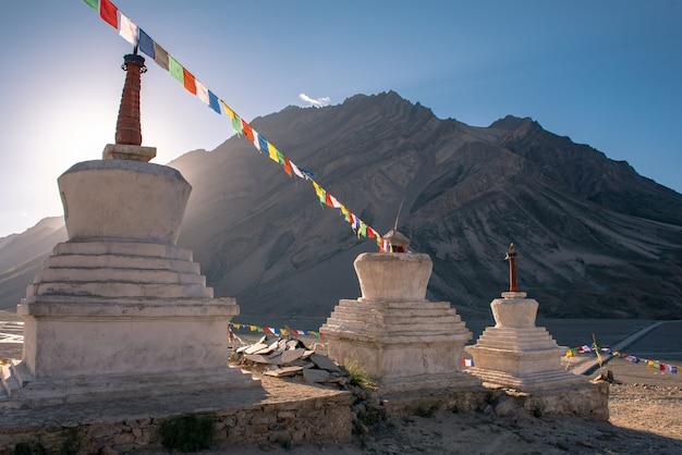 Beautiful landscape in rangdum with ancient white buddhist stupa