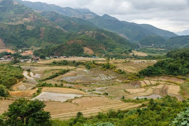 秋のジエンビエン県ベトナムの美しい風景水田