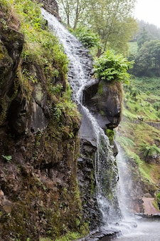Beautiful landscape sceneries in azores portugal tropical nature in sao miguel island azores