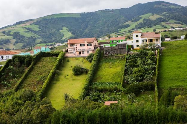 アゾレス諸島の美しい風景風景サンミゲル島の熱帯の自然アゾレス諸島