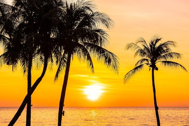 Beautiful landscape of sea ocean with silhouette coconut palm tree at sunset or sunrise