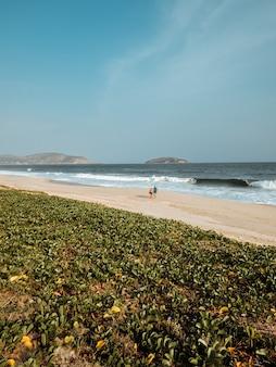 Красивый пейзажный снимок золотого заката на пляже города в рио-де-жанейро