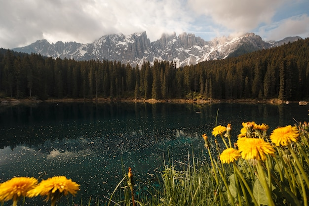 Beautiful landscape of a small turquoise alpine lake under the cloudy sky
