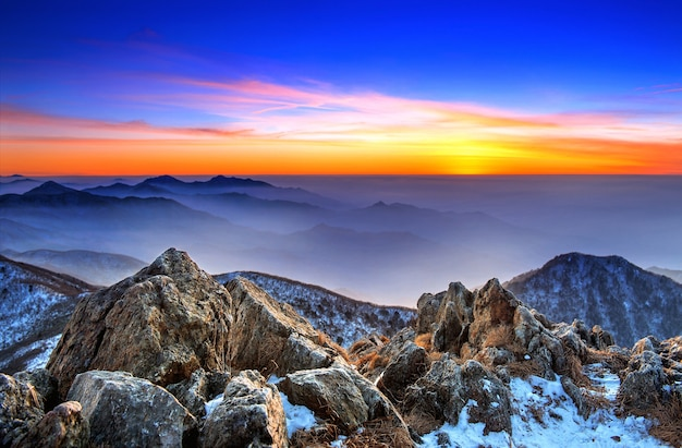 Beautiful landscape at sunset on deogyusan national park in winter,south korea