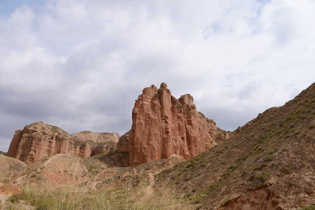 Beautiful landscape view of binggou danxia scenic area in sunan zhangye gansu province, china.