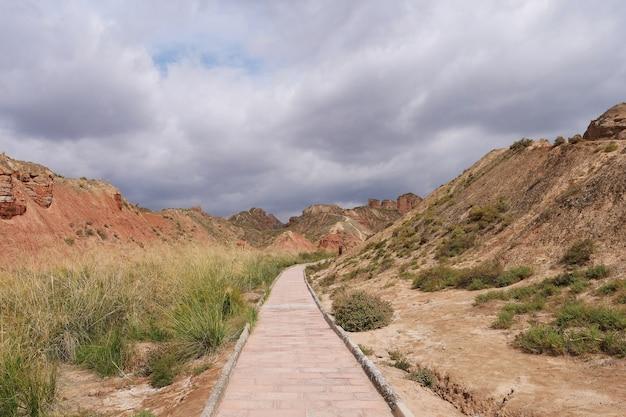 Beautiful landscape view of binggou danxia scenic area in sunan zhangye gansu province, china. Premium Photo