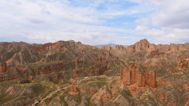 Beautiful landscape view of binggou danxia scenic area in sunan zhangye gansu province, china.