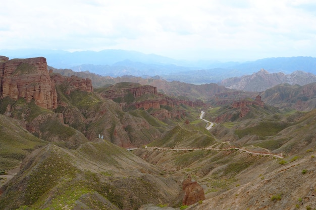 Beautiful landscape view of binggou danxia scenic area in sunan zhangye gansu province, china. Premium Photo