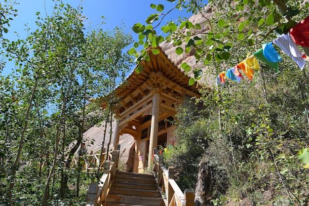 Beautiful landscape view of mati temple in zhangye gansu china.