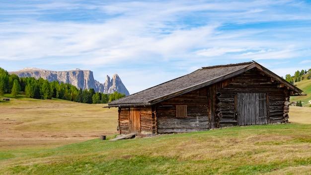 Alpe di cisles, ortisei 이탈리아에서 dolomite 유네스코 세계 문화 유산의 아름다운 풍경을 볼 수 있습니다.