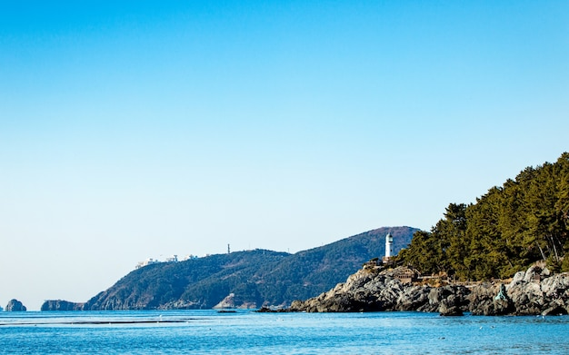 Красивый пейзаж вид на море пляж пусан южная корея