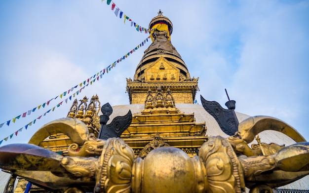 Beautiful landscape view of swayambhunath stupa at kathmand nepal