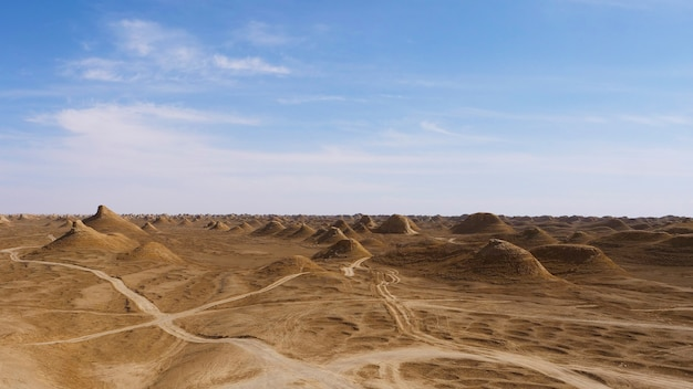 Beautiful landscape view of yardang landform and sunny blue sky in dunhuang gansu china