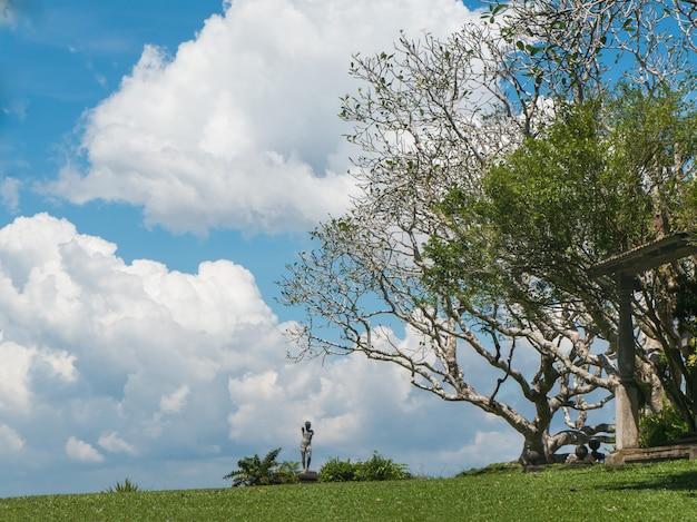 Красивый пейзаж со статуей у дерева и газона