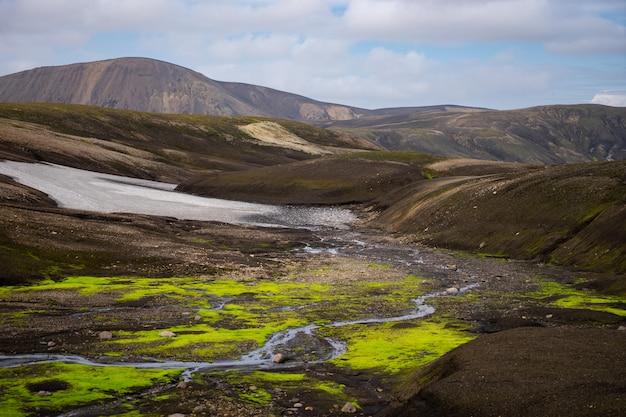 Красивый пейзаж с ледником, холмами и мхом