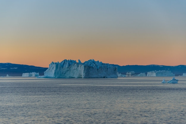 Beautiful landscape with iceberg in greenland at summer time.