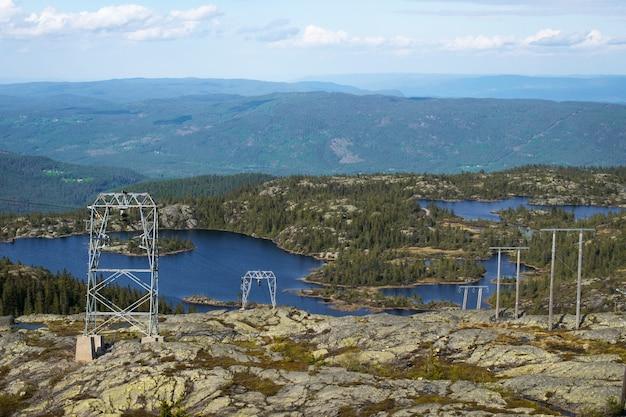 Bellissimo paesaggio con un lago circondato da montagne in croazia