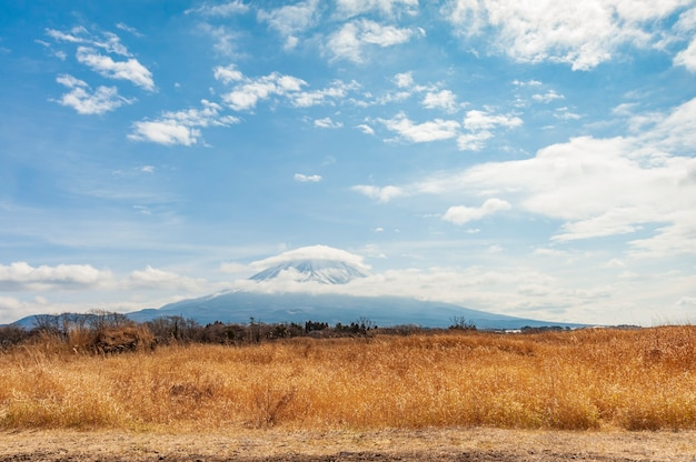 Beautiful landscape with mount fuji with snow and hat shaped cloud yamanashi japan