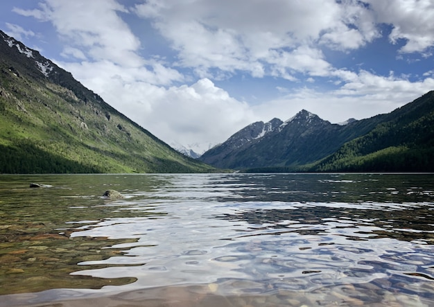 Beautiful landscape with mountains and lake in the summer morning, altai