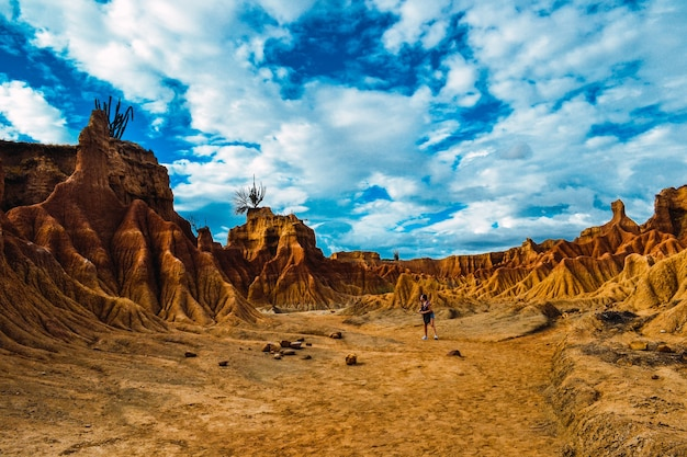 Beautiful landscape with sandy rocks in the tatacoa desert in columbia
