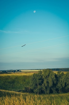 Beautiful landscape with sky, field moon and crow