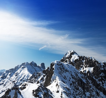 Beautiful Landscape with Snowy Mountains. Blue Sky. Horizontal. Alps, Austria.
