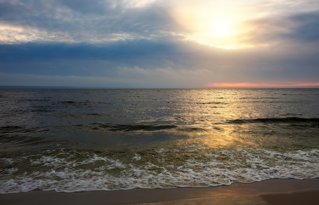 Beautiful landscape with sunset sky. morning, sunrise over sea.