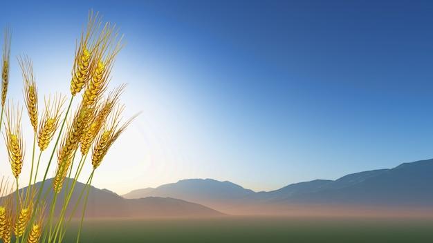3d визуализации пшеницы с холмов на расстоянии