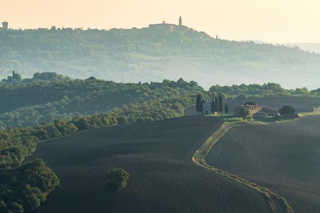 道路から丘、ブドウ園、ヒノキの木があるトスカーナの美しい風景