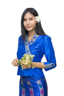 Beautiful laos girl in laos costume on white background