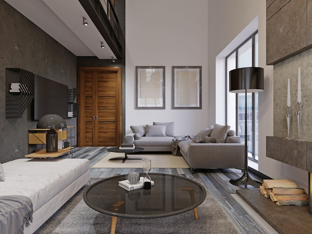 Beautiful and large hipster design living room interior with hardwood floors and vaulted ceiling in new luxury home. entryway, and second loft area. 3d rendering.