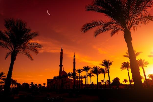 Красивая большая исламская мечеть на закате