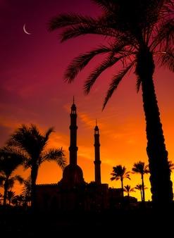夕焼け空に美しい大きなイスラムモスク