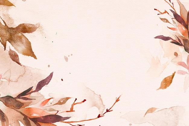 Beautiful leaf watercolor background in brown autumn season