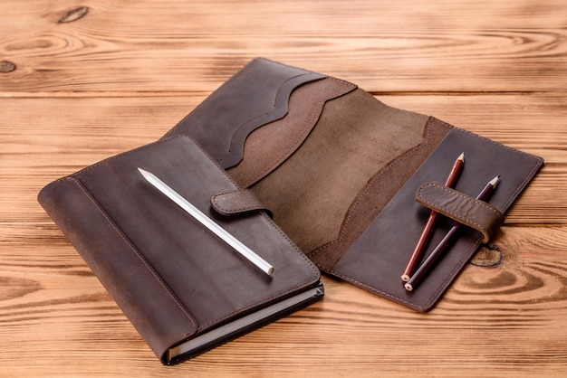 Beautiful leather brown case made of leather designed for a notebook