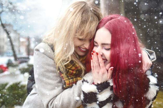 美しいレズビアンのカップル。 2人の女性の抱擁。金髪と赤の髪のモデル。雪道を歩きます。親友