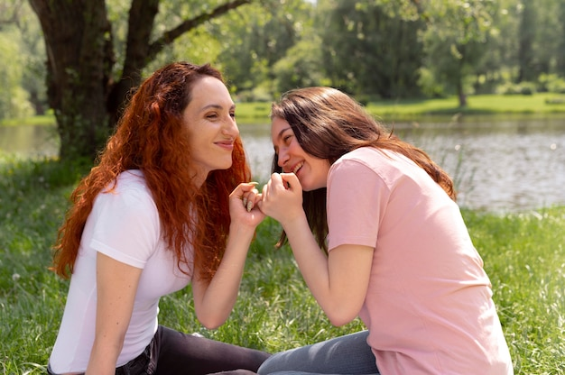 Beautiful lgbt couple spending time together in the park